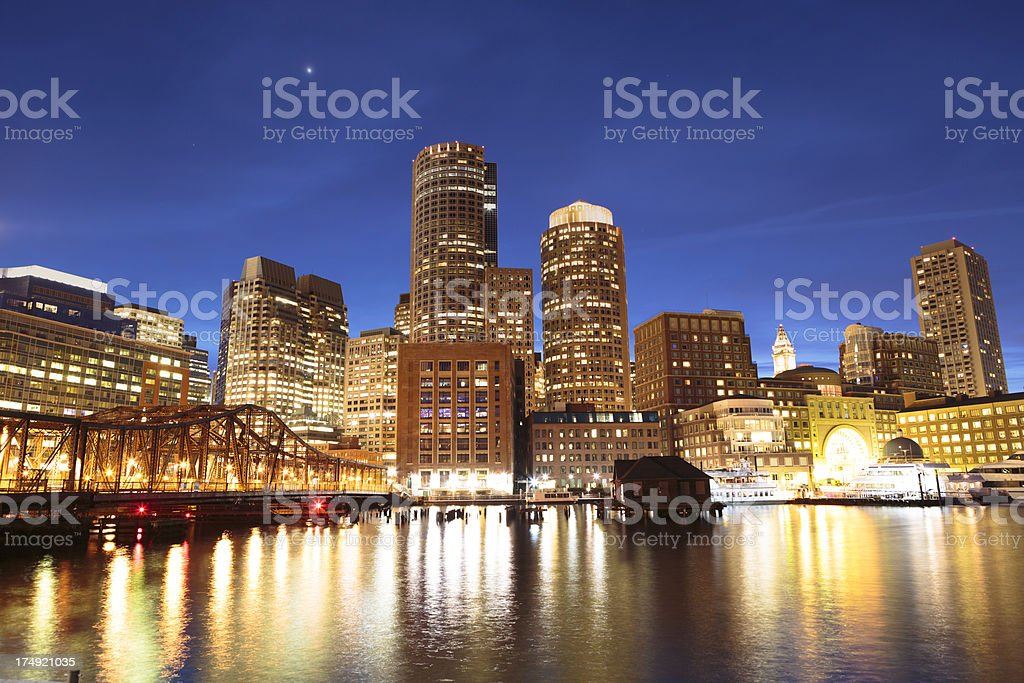 Boston Rowe's Wharf waterfront at night royalty-free stock photo
