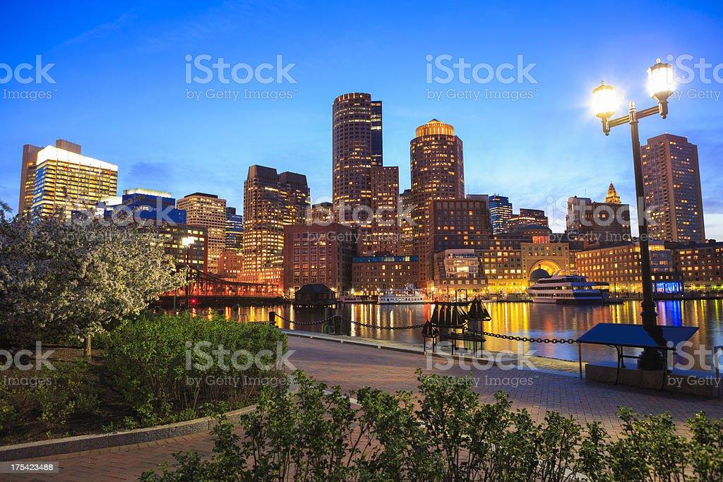Boston Rowe's Wharf waterfront at night stock photo
