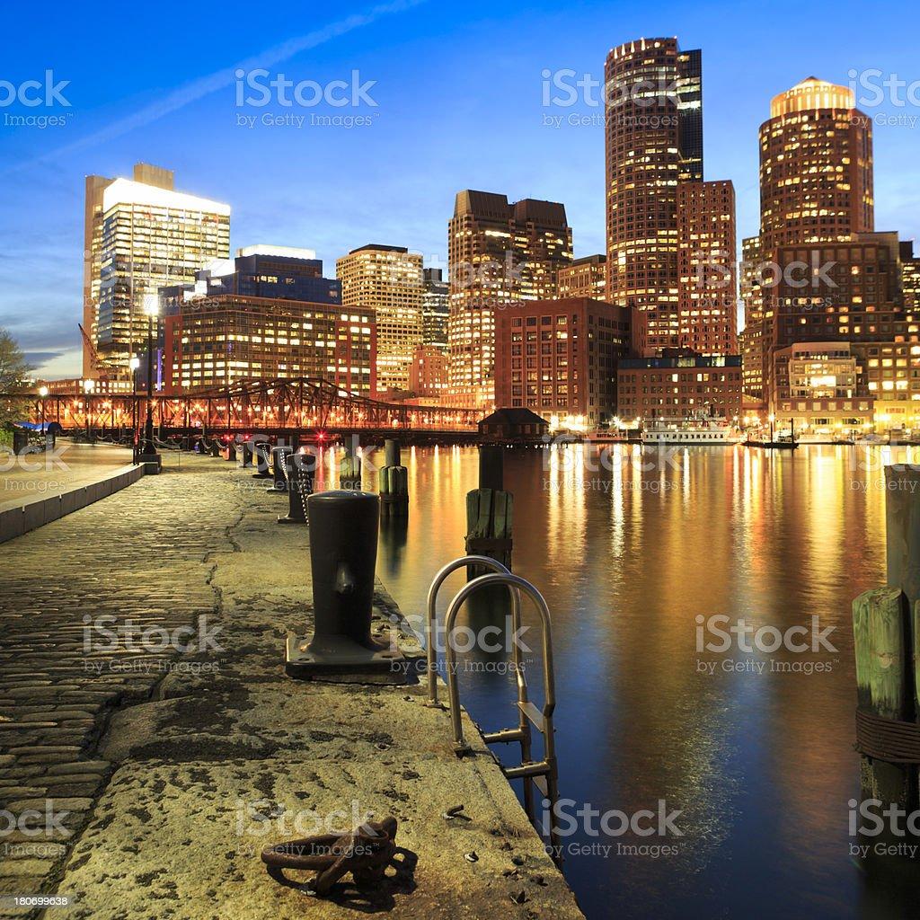 Boston Rowe's Wharf waterfront at sunset stock photo