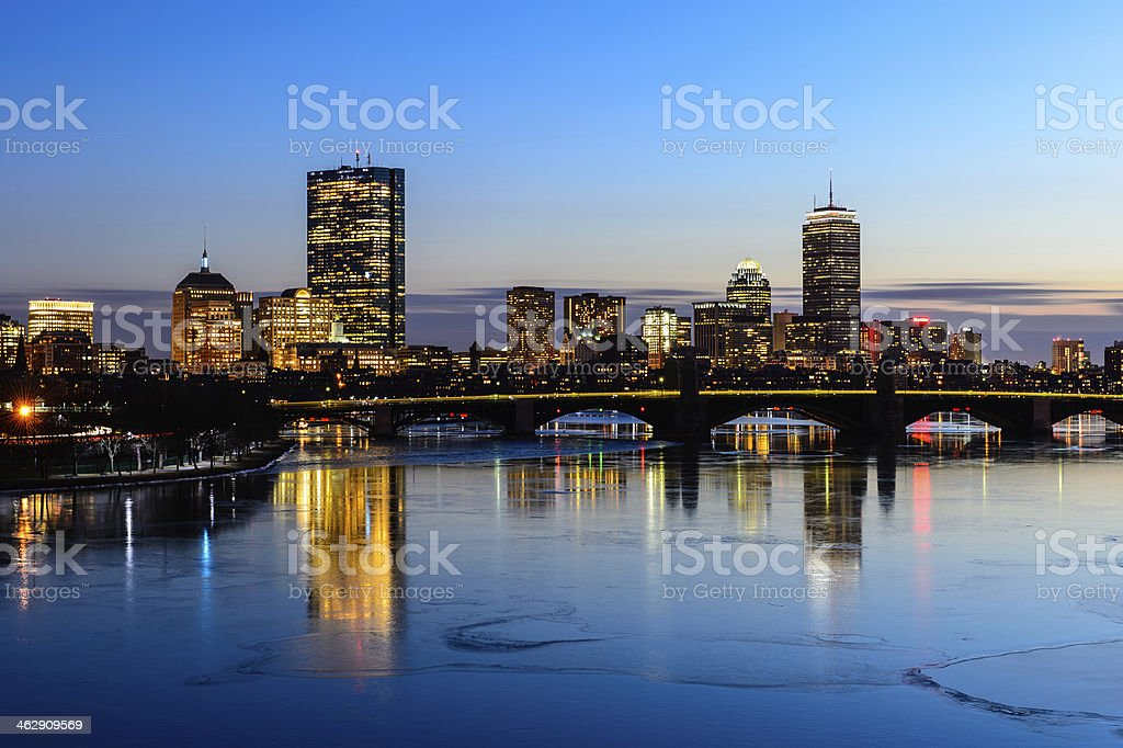 Boston Skyline 2014 at twilight time in Massachusetts - USA. royalty-free stock photo