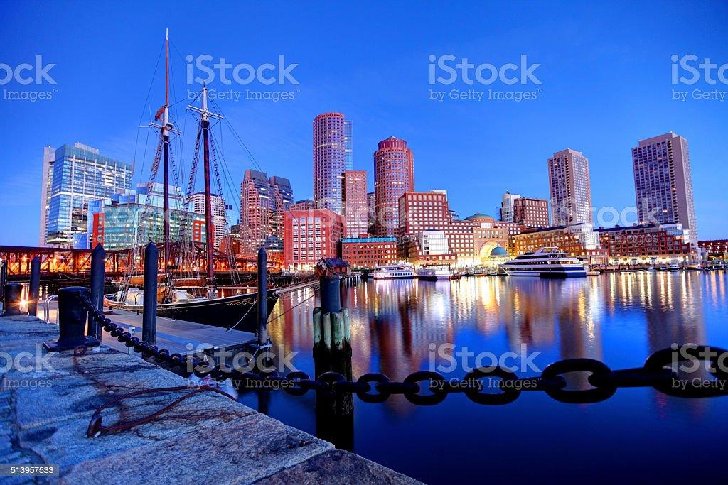 Boston Skyline along the Harborwalk stock photo