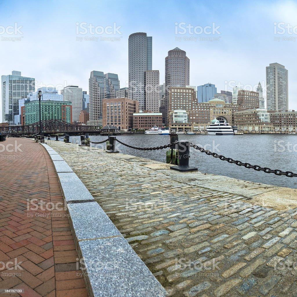 Boston Skyline and Fan Pier's Brick-Paved HarborWalk stock photo