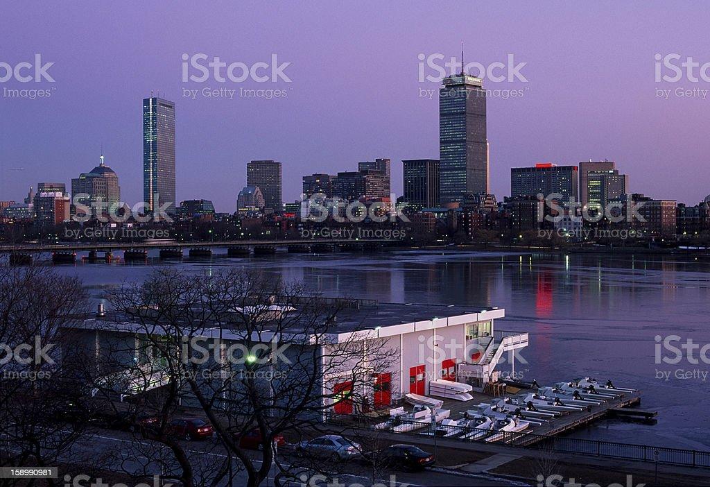 Boston skyline and MIT boathouse royalty-free stock photo