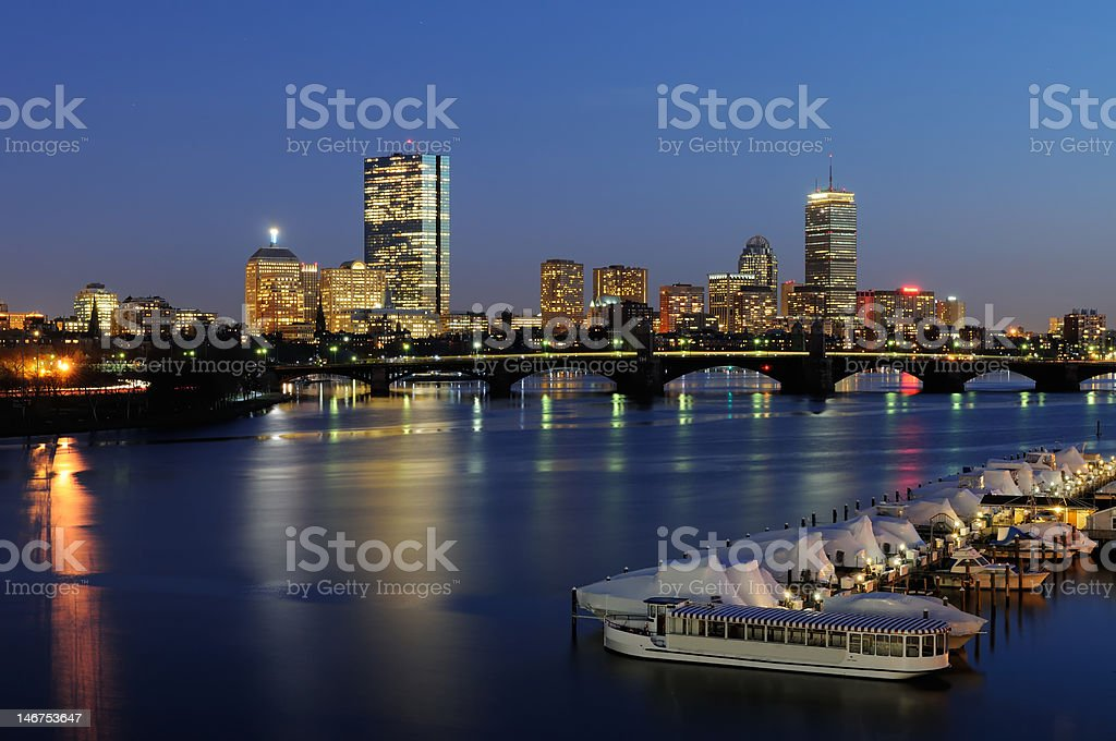 Boston Skyline and the Charles River at Night royalty-free stock photo