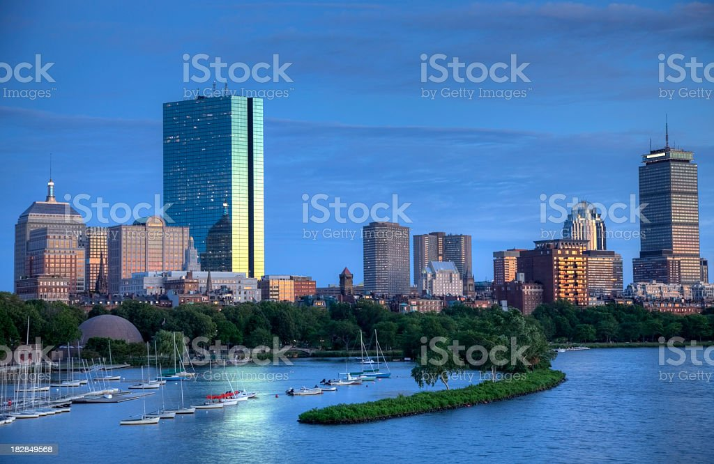 Boston skyline and the Charles River royalty-free stock photo