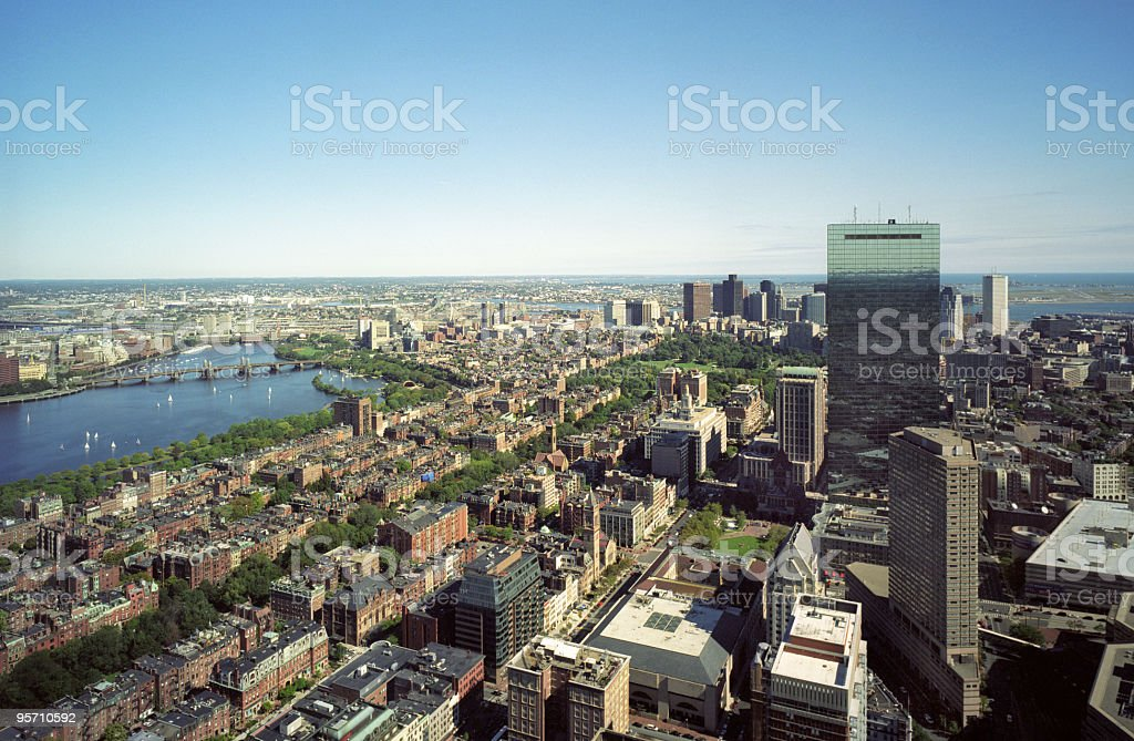 Boston Skyline and the Charles River stock photo