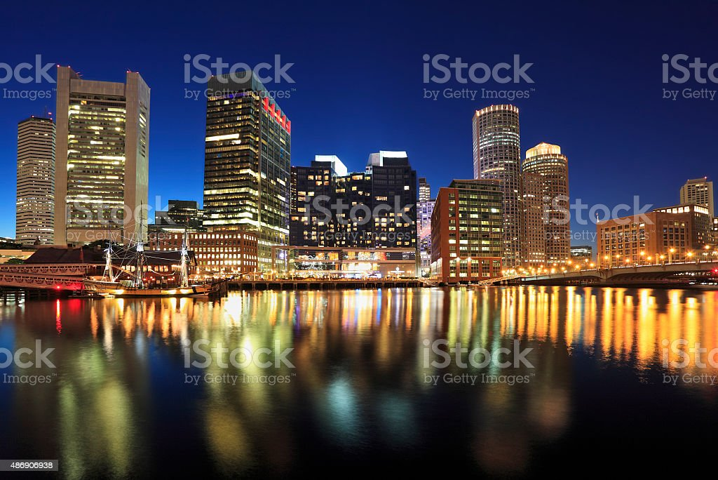 Boston skyline at dusk, USA stock photo