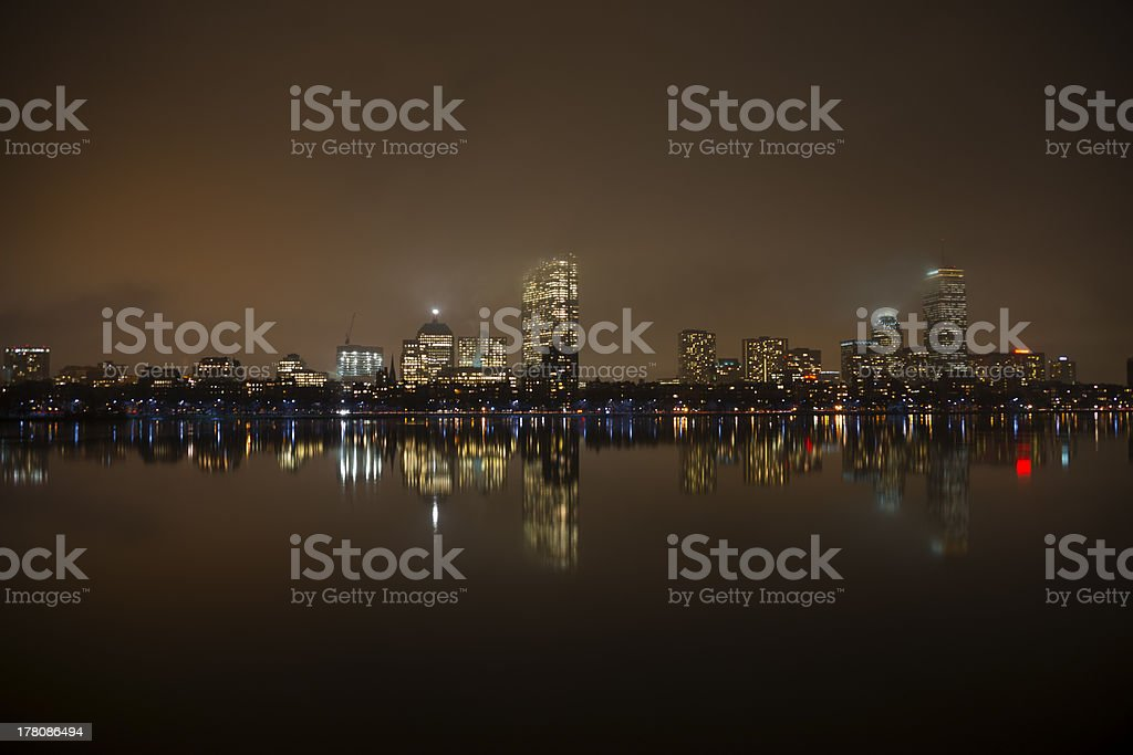 Boston skyline at night from Cambridge royalty-free stock photo