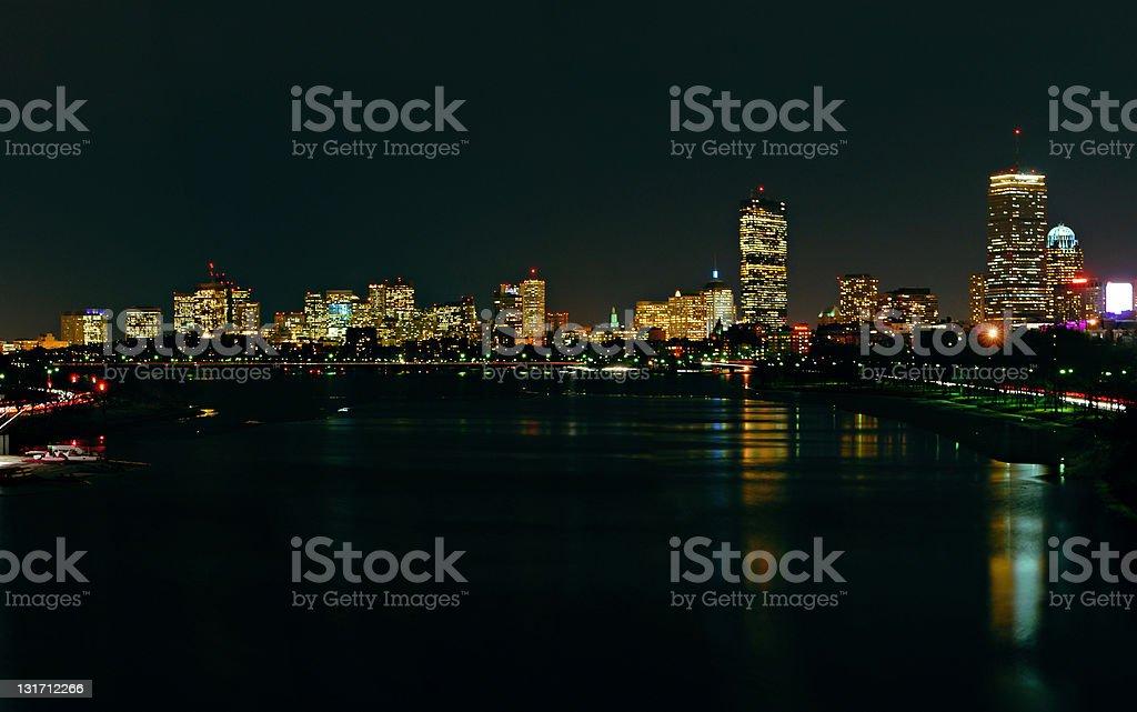 Boston Skyline at Night #1 royalty-free stock photo