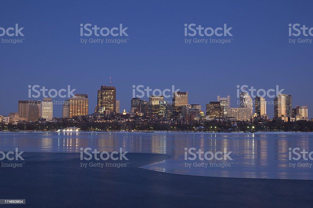 Boston Skyline at Night royalty-free stock photo