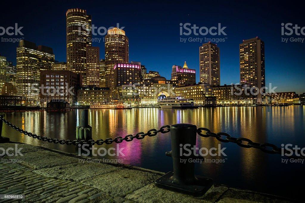 Boston skyline at night stock photo