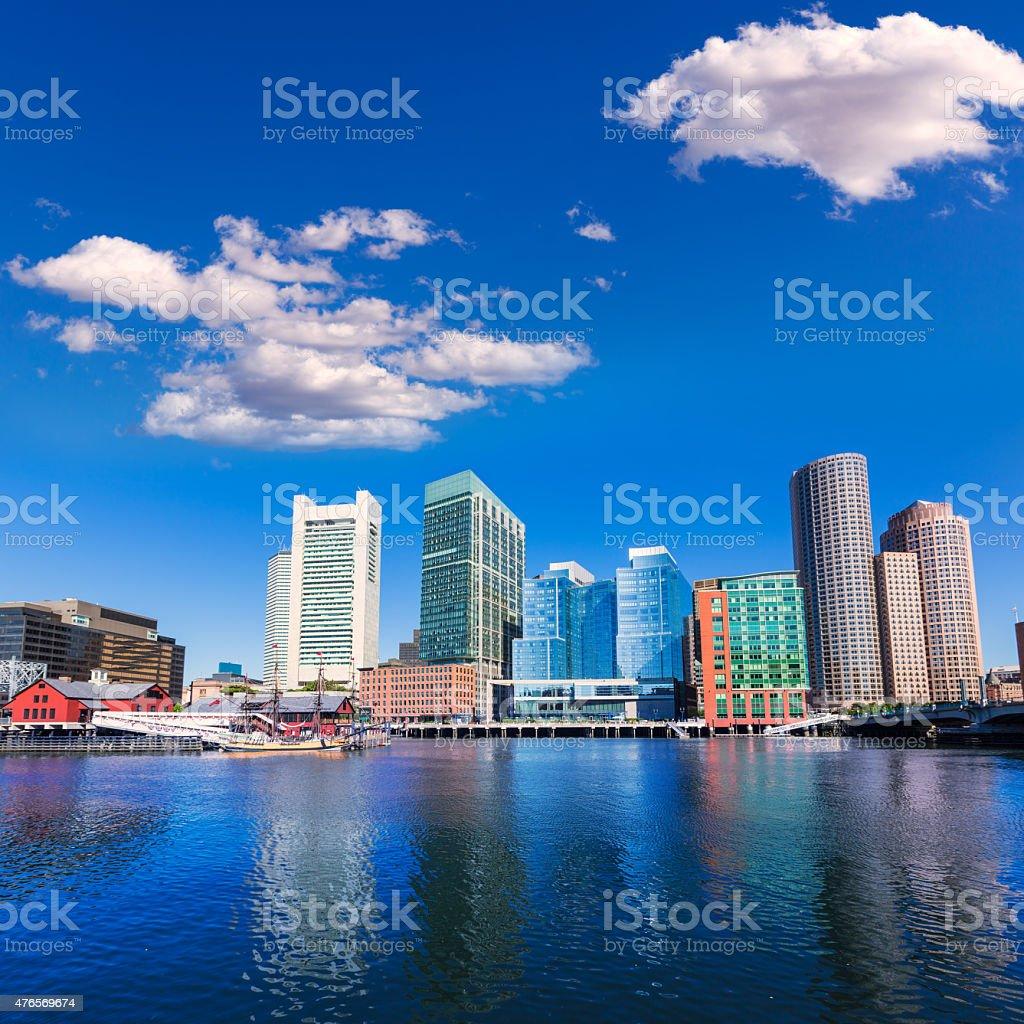 Boston skyline from Fan Pier sunlight Massachusetts stock photo