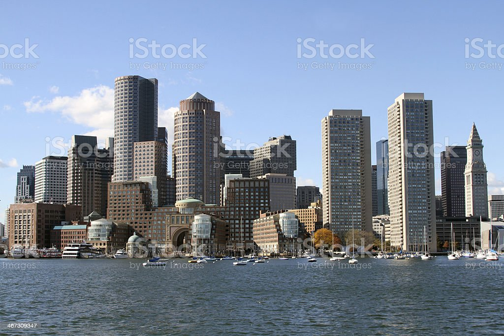 Boston skyline from Harbor royalty-free stock photo