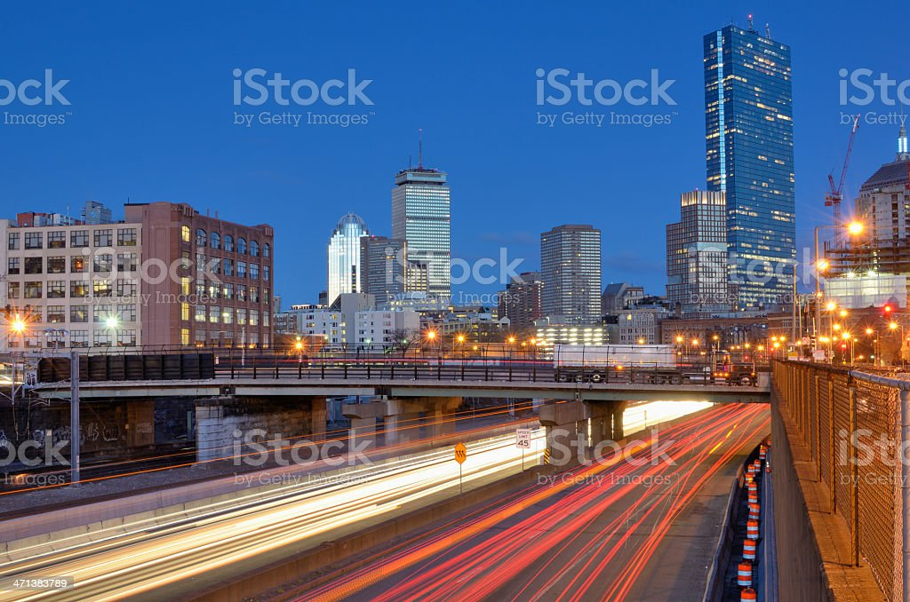 Boston Skyline from Harborwalk stock photo