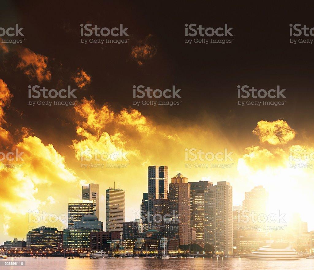 Boston skyline on sunset stock photo