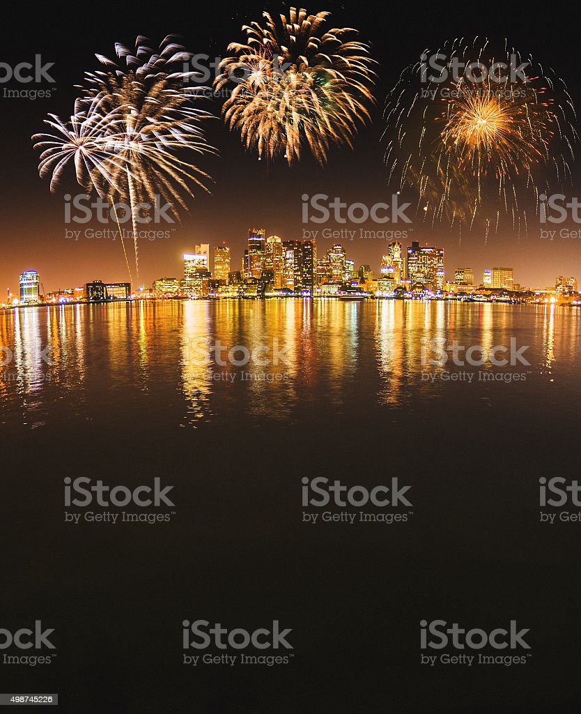 Boston skyline on the night stock photo