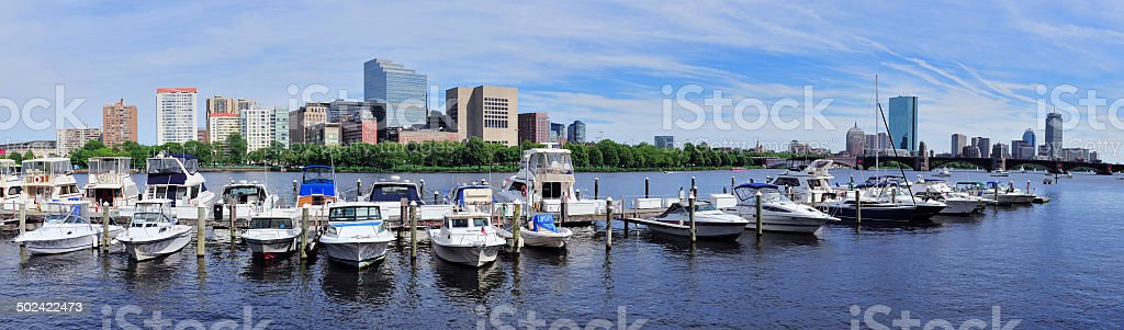 Boston skyline over river royalty-free stock photo