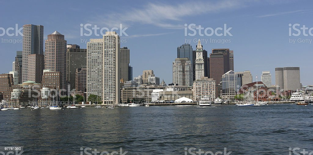 Boston skyline, view from boat cruise stock photo