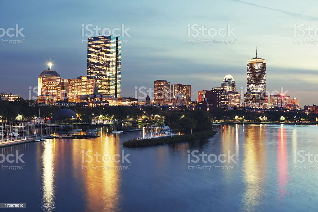 Boston skyline: view from Cambrigde. royalty-free stock photo