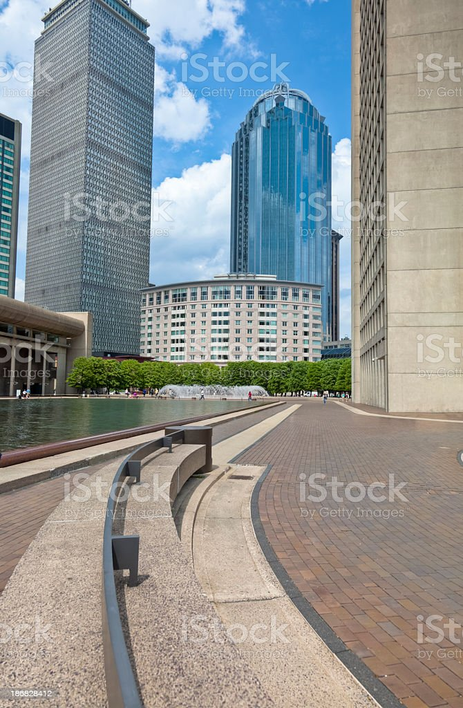 Boston Skyline with Brick Pavement Leading Towards Prudential Center Towers royalty-free stock photo