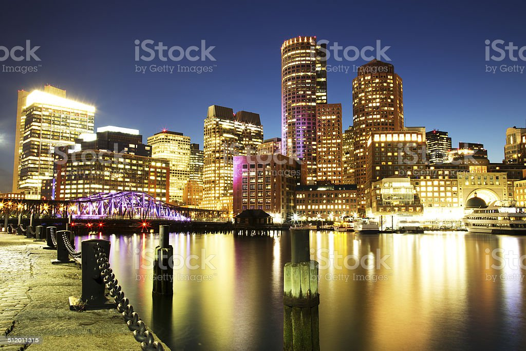 Boston Skyline with Financial District and Boston Harbor stock photo