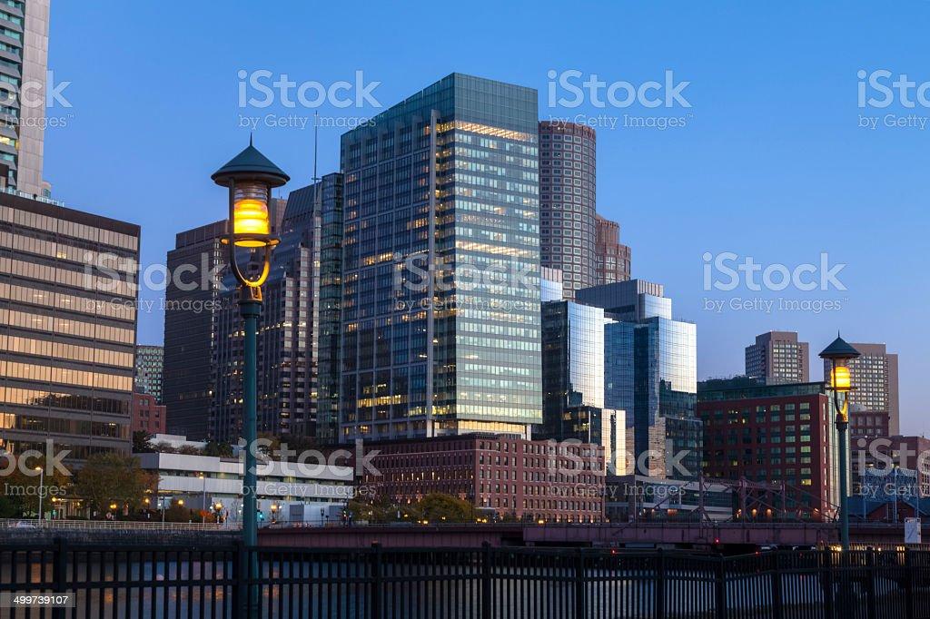 Boston Skyline with Lanterns Lit to Light the Way royalty-free stock photo