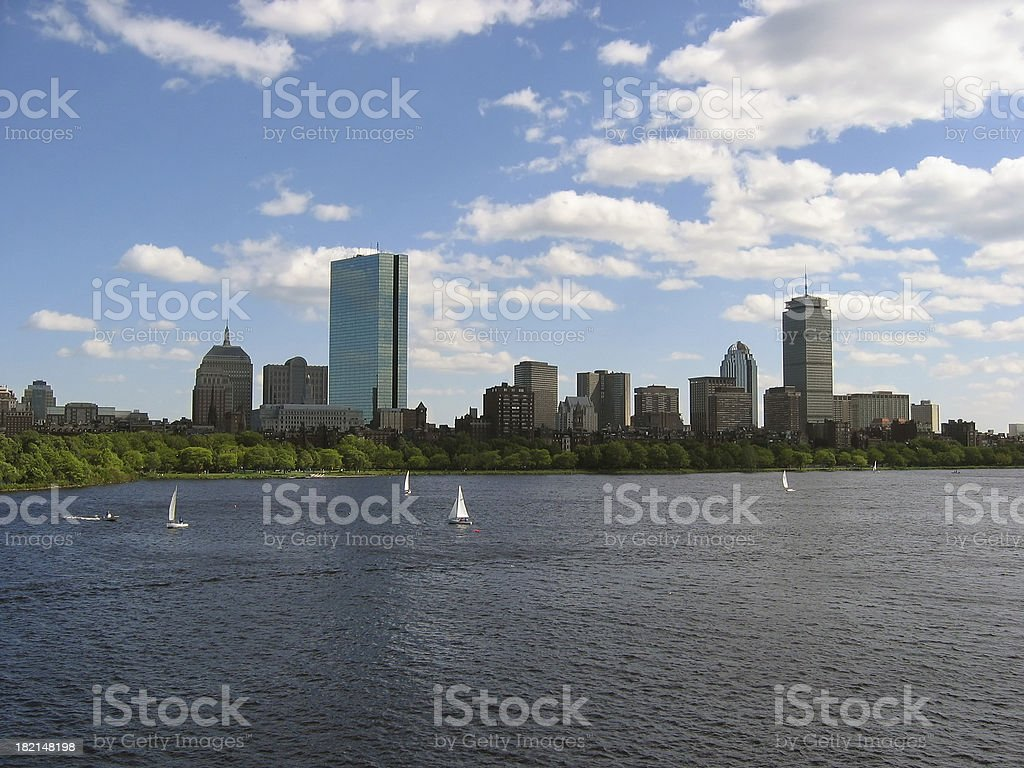 Boston Skyline with Sail Boats royalty-free stock photo