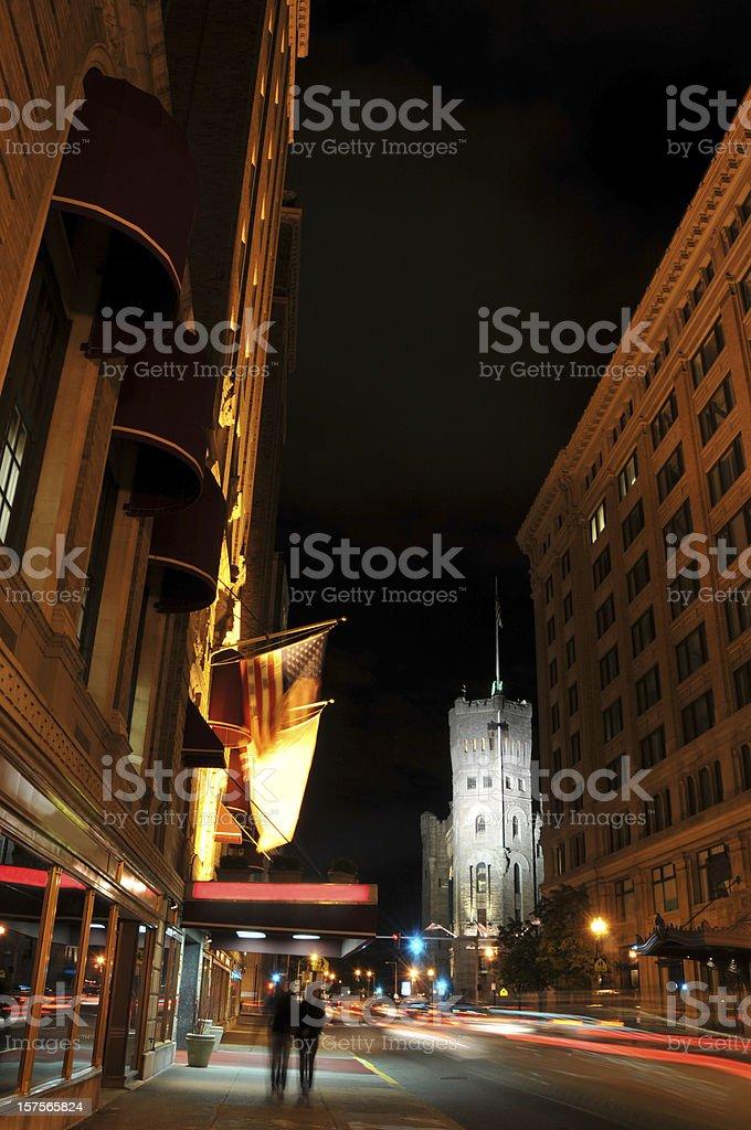 Boston Street at Night royalty-free stock photo