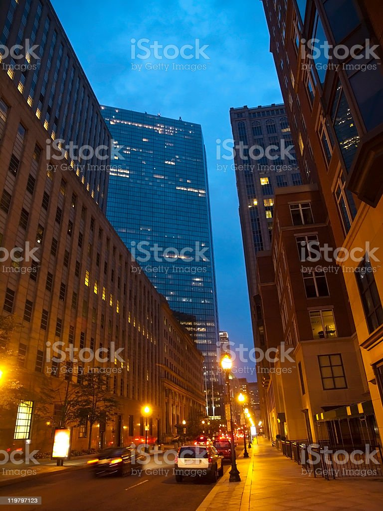 Boston Streets at a Summer Night royalty-free stock photo