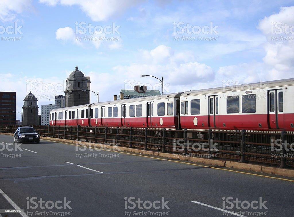 Boston subway train royalty-free stock photo