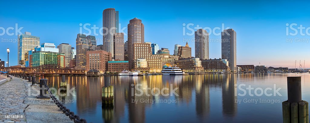 Boston Sunrise Under Clear Blue Sky and Calm Harbor Panorama royalty-free stock photo