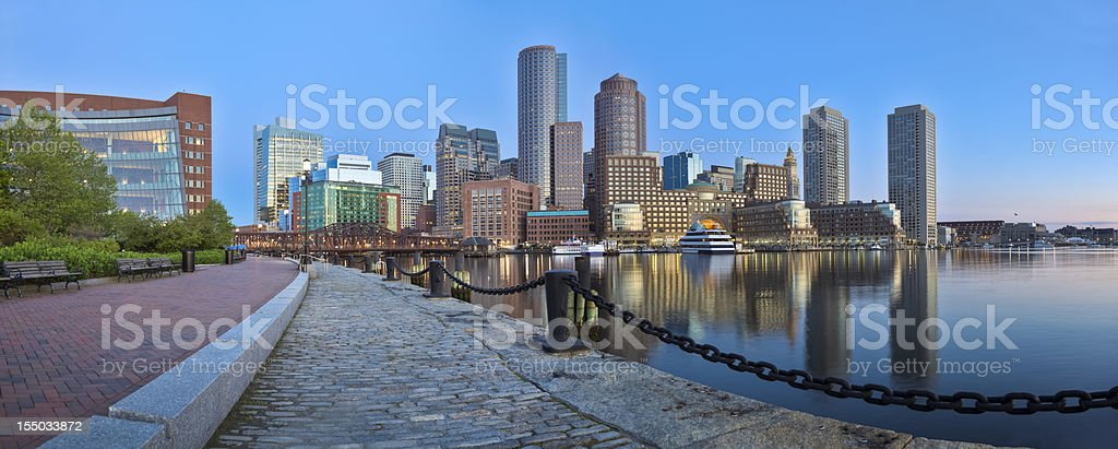 Boston Sunrise With Skyscrapers Reflecting in a Glassy Channel Panorama royalty-free stock photo