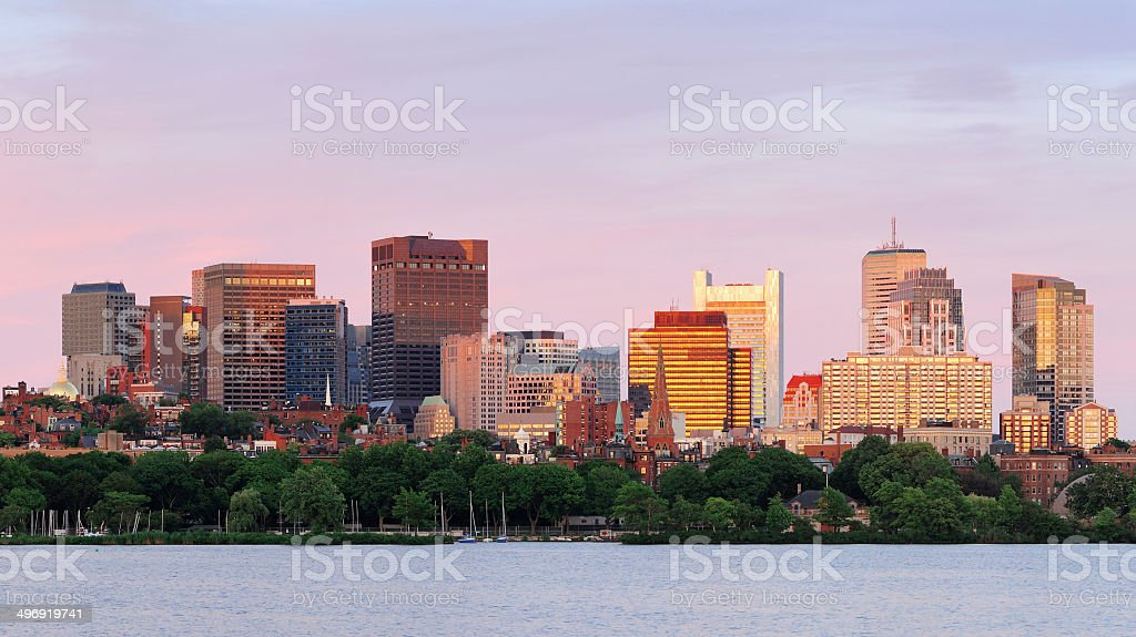 Boston sunset royalty-free stock photo