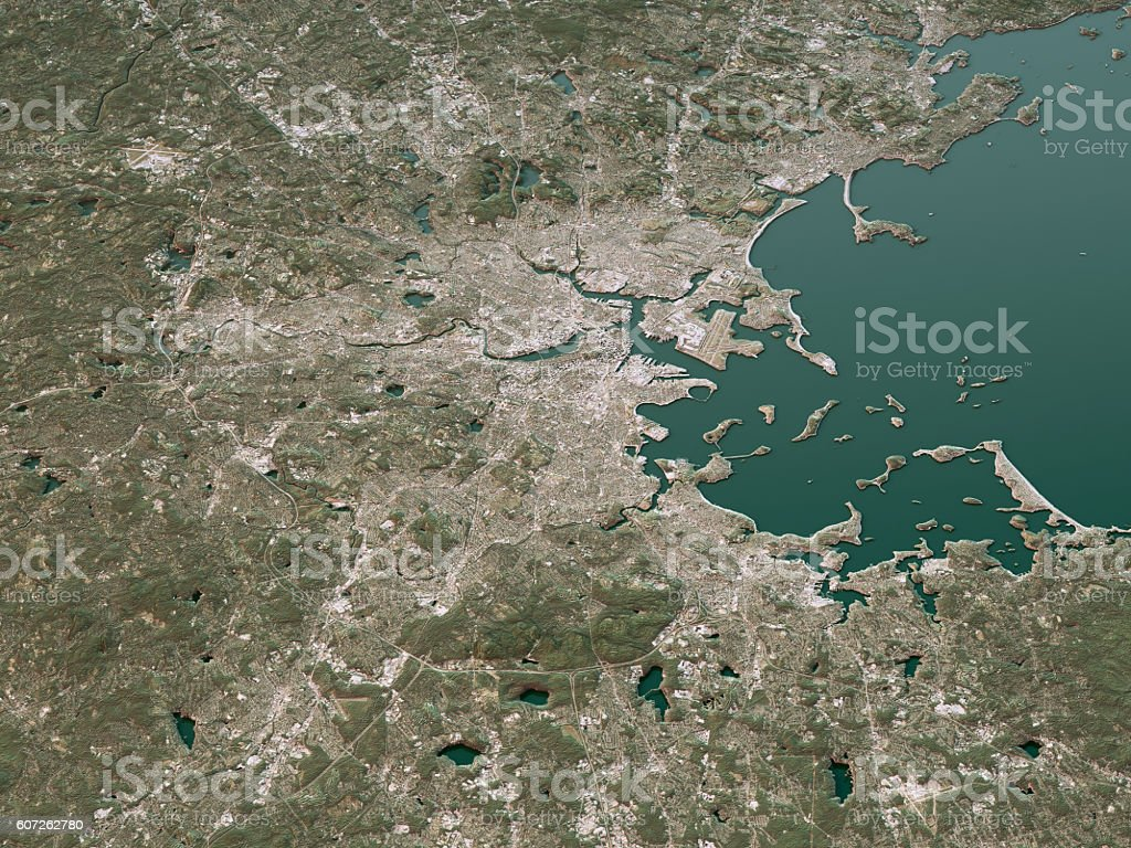 Boston Topographic Map 3D Landscape View Natural Color stock photo