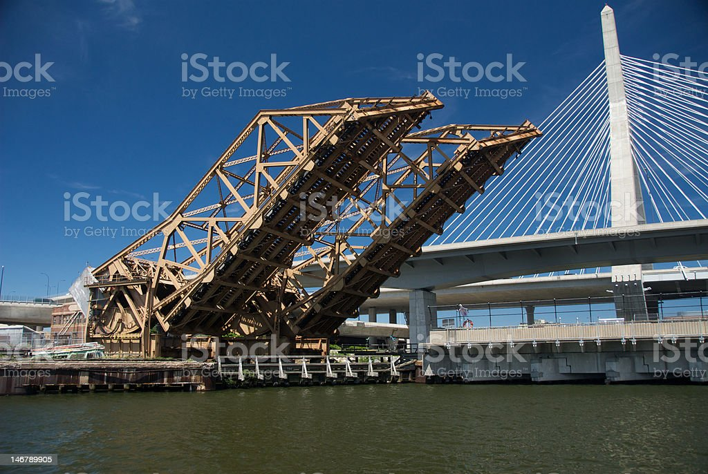 Boston Train Draw Bridge royalty-free stock photo