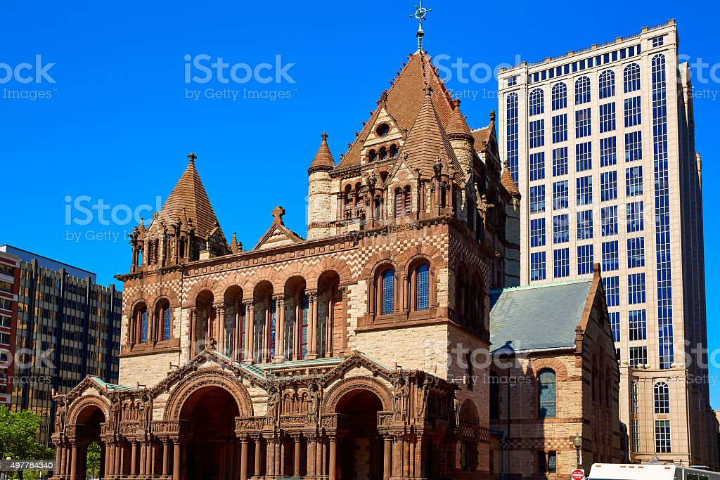 Boston Trinity Church at Copley Square stock photo