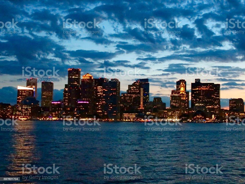 Boston Twilight Cityscape stock photo