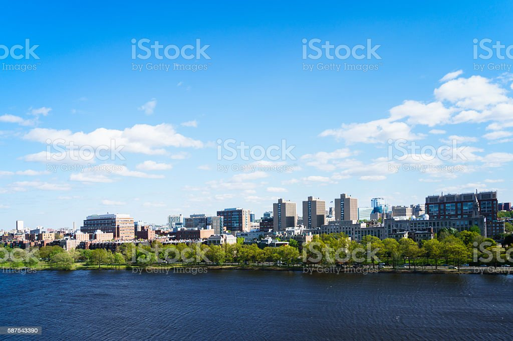 Boston University with Charles River stock photo