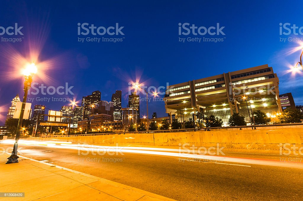 boston urban scene on the night stock photo