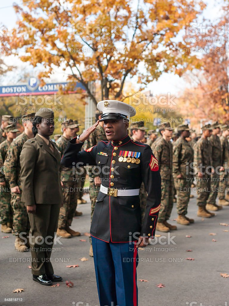 Boston Veterans Day Parade stock photo