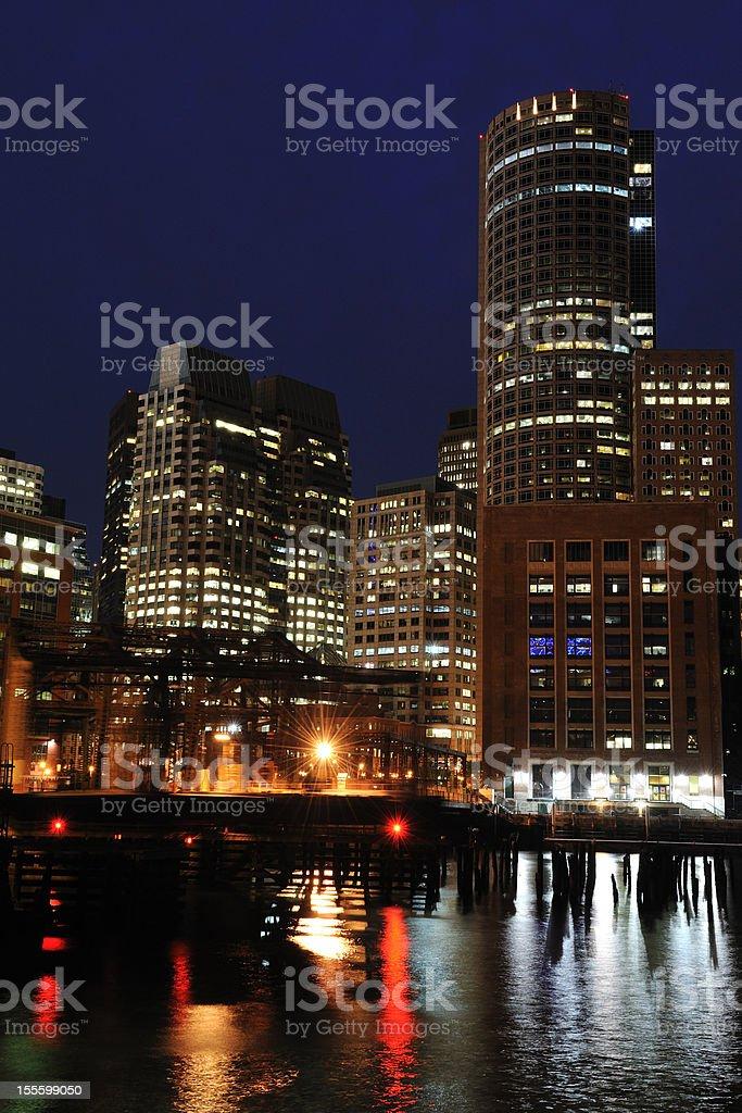Boston Waterfront at Night stock photo