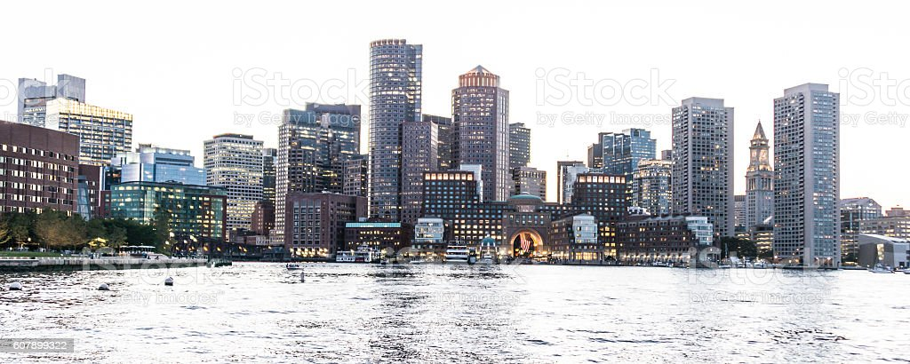 Boston Waterfront at Sunset stock photo