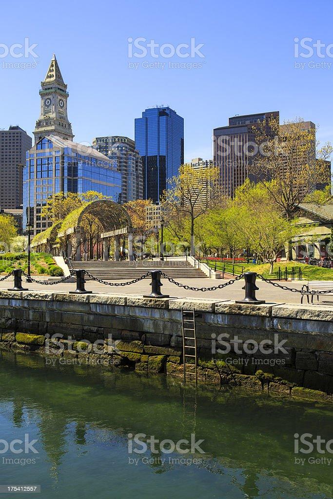 Boston Waterfront on Long Wharf, Massachusetts stock photo