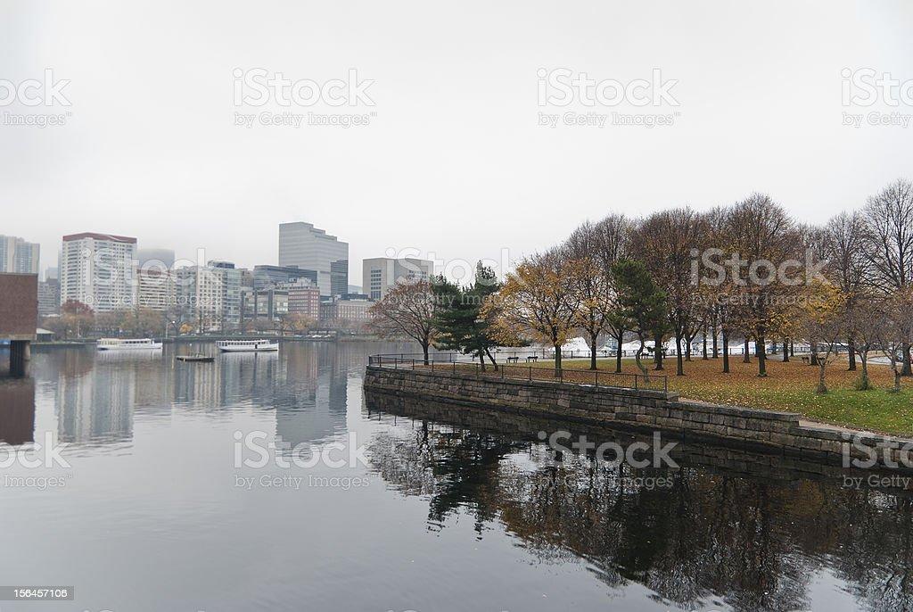 Boston con niebla - foto de stock