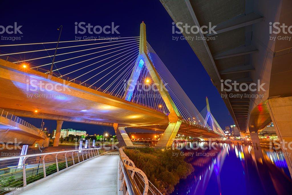 Boston Zakim bridge sunset in Massachusetts stock photo