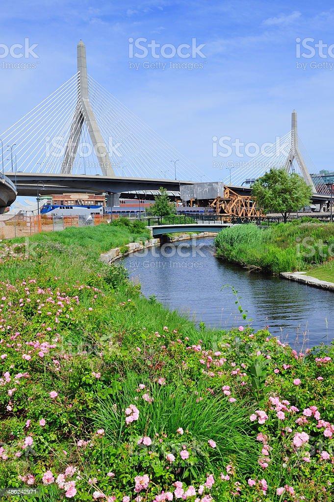 Boston Zakim Bunker Hill Bridge royalty-free stock photo