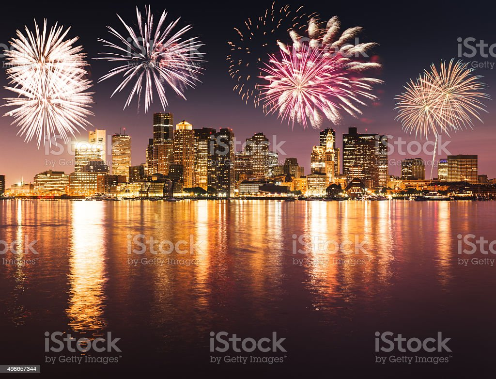 Bostonon the night with fireworks for the new year stock photo
