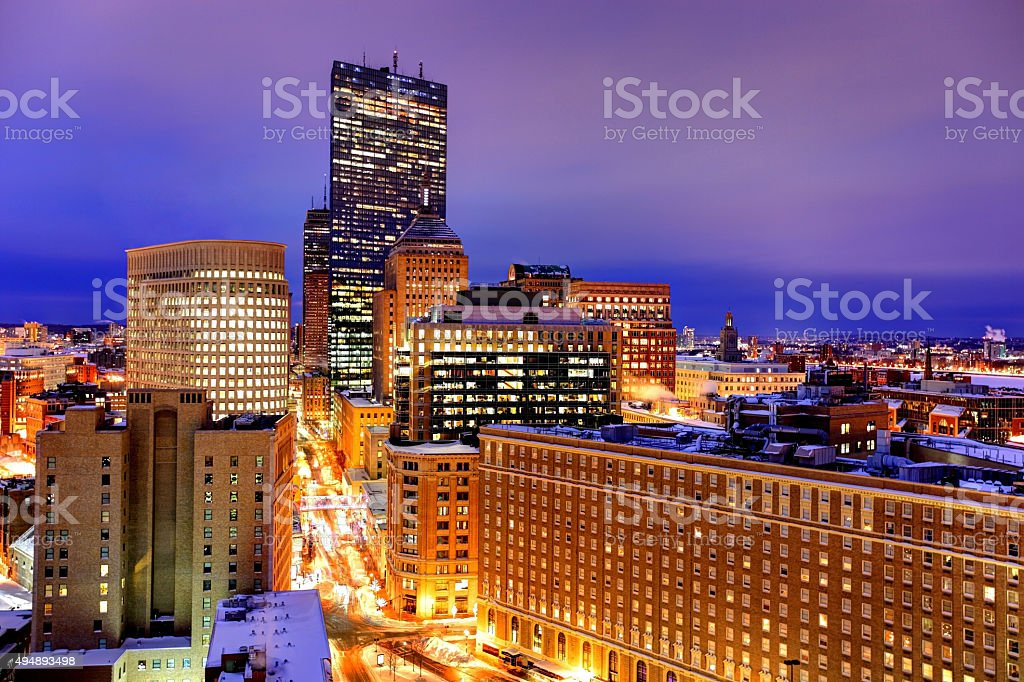 Boston's Back Bay skyline in Winter stock photo