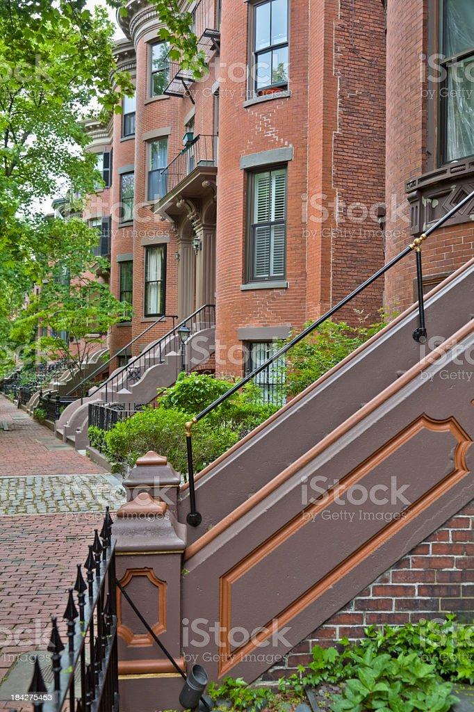 Boston's Historic Brownstone Homes, Brick Sidewalks, Ornate Railings stock photo