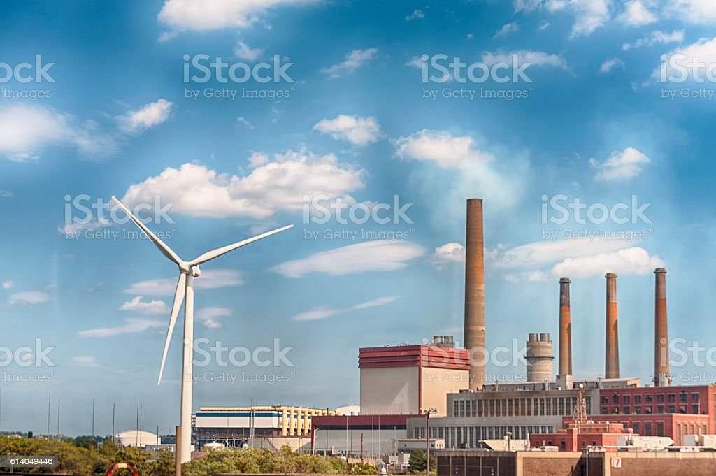 Boston's Industrial Area Factory and Wind Turbine stock photo